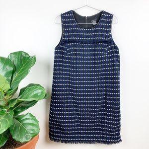 Ann Taylor Tweed Shift Dress Black Blue Fringe